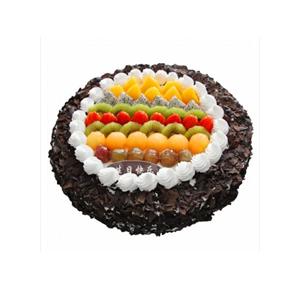蛋糕/倾城温暖: 圆形欧式蛋糕,巧克力屑包裹,中间各色时令水果装