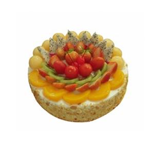 蛋糕/今天你要嫁给我: 圆形水果蛋糕,各式时令水果铺面,各类果仁围边。