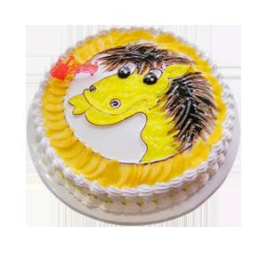 蛋糕/小马奔腾:鲜奶鸡蛋胚+新鲜奶油 祝 愿:愿你心想事成,马到功