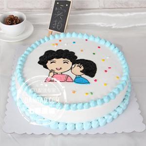 蛋糕/妈妈,我爱您: 圆形奶油蛋糕,选用新鲜奶油、原味戚风蛋糕胚