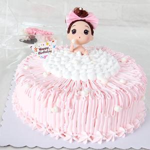 蛋糕/梦幻芭比: 新鲜奶油、戚风水果夹层蛋糕胚(芭比随机搭配)