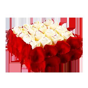 蛋糕/美味情缘: 新鲜奶油、玫瑰花瓣围边  [包 装]:赠送高