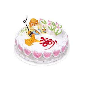 蛋糕/福寿绵长: 圆形鲜奶蛋糕,一位寿星旁边陪伴着一只仙鹿,五个