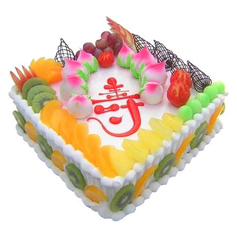 蛋糕/福满堂: 方形鲜奶水果蛋糕,时令水果装饰,水果围边