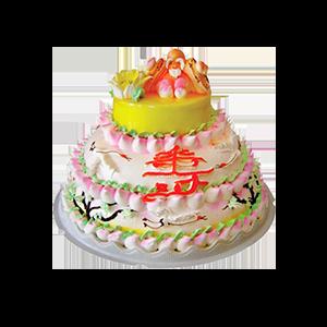 蛋糕/松乔之寿:新鲜奶油多层创意,搭配寿星公可爱造型 祝 愿:福如