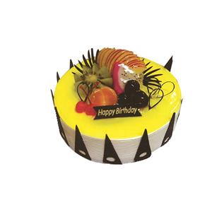 蛋糕/罗马假日: 圆形鲜奶水果蛋糕,时令水果,黄色果浆,巧克力插