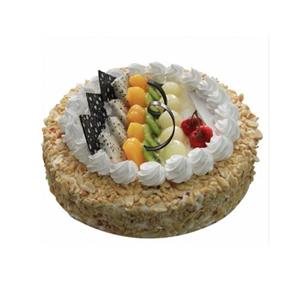 蛋糕/细细的爱:圆形鲜奶水果蛋糕,时令水果装饰,花生碎铺面 包 装