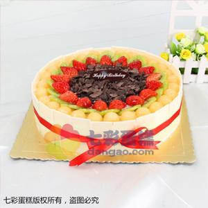 蛋糕/环绕的幸福:鲜奶鸡蛋胚+新鲜时令水果+巧克力片围边 祝 愿:有