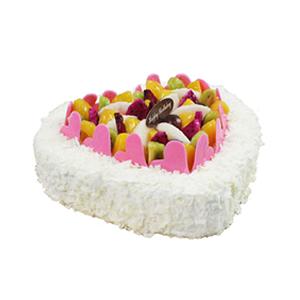 蛋糕/不变的心: 心形欧式水果蛋糕,各色水果、巧克力片心形艺术装