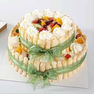 蛋糕/快乐城堡:鲜奶鸡蛋原料+手指饼干围边+新鲜水果铺面 祝 愿: