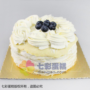 蛋糕/榴莲飘香: 圆形榴莲蛋糕,榴莲千层蛋糕果肉夹层,奶油花、蓝