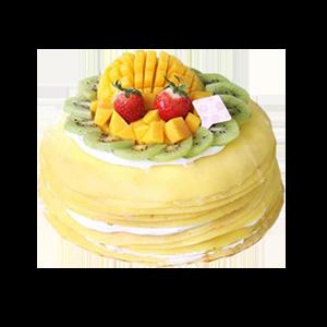 蛋糕/芒果之恋千层蛋糕:鲜奶淡奶油鸡蛋+新鲜时令水果 祝 愿:友谊常驻,亲