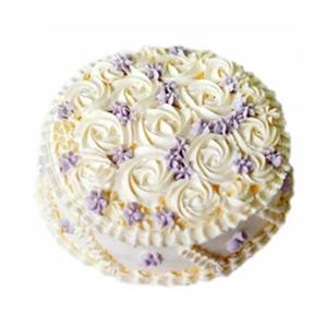 蛋糕/纯爱:圆形鲜奶艺术蛋糕,玫瑰型花纹装饰 包 装:购买蛋糕