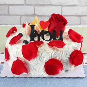 蛋糕/玫瑰色恋人:新鲜时令水果搭配玫瑰花装饰,甜蜜而又浪漫 祝 愿: