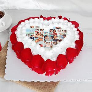 蛋糕/心有独钟:数码定制蛋糕,新鲜奶油,玫瑰花瓣围边,食用糯米纸打印