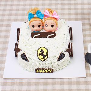 蛋糕/环游世界的梦想:法拉利小汽车造型,芭比娃娃,新鲜奶油 配材:奥利奥香