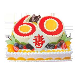 """蛋糕/贵寿无极:方形水果双层蛋糕,上层数字""""60""""形蛋糕,双层蛋糕时"""