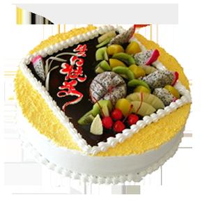 蛋糕/海屋添寿:圆形鲜奶水果蛋糕,时令水果装饰 祝 愿:日子比花艳