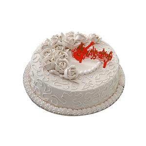 蛋糕/你是我的太阳: 圆形冰激凌蛋糕,米色奶油花装饰(请提前2-3天