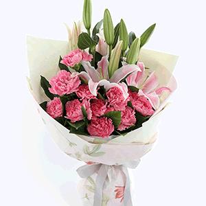 鲜花/喜乐安康:11枝粉色康乃馨+2枝百合 花 语:祝您喜乐健康,