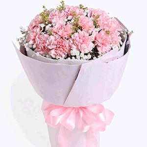 鲜花/幸好有你:19枝粉色康乃馨 配材:黄樱 满天星 花 语:幸好