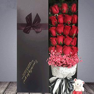 鲜花/一诺相许:19枝红玫瑰 粉樱 花 语:与你一诺相许 是我素色