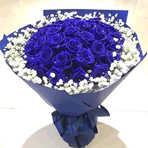 鲜花/冰封海洋:蓝色妖姬+高级配花 花 语:千山万水就当是伏笔,我