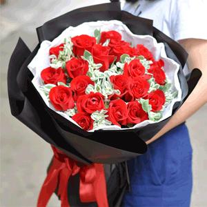 鲜花/一花一叶情:21枝精品红玫瑰+高级配草 花 语:一花一叶情,一
