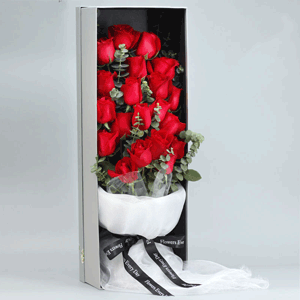 鲜花/爱你一辈子:21枝红玫瑰 花 语:亲爱的宝贝,七夕快乐,永远爱