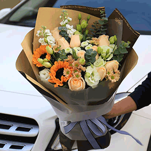 鲜花/活力盎然:29枝香槟玫瑰+向日葵+高级配花 花 语:鲜花无语