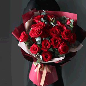鲜花/红色盛宴:29枝红玫瑰 花 语:世人谓我恋长安,其实只恋长安