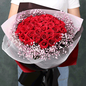 鲜花/两情久长时:33枝精品红玫瑰+满天星 花 语:爱上你的那天,是