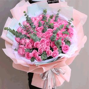 鲜花/我们的爱:99枝粉玫瑰+尤加利叶 花 语:无论在哪里遇到你,